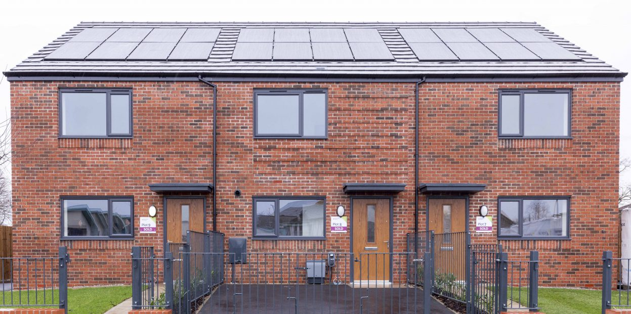 Image of 3 Keepmoat houses with roof-fitted solar panels